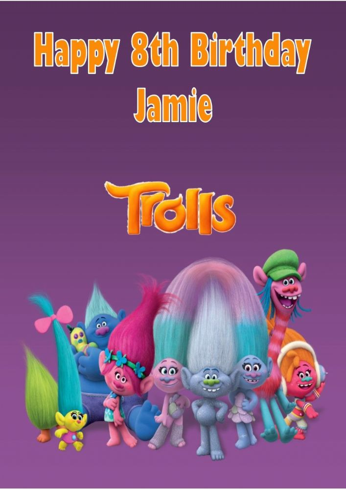 personalised trolls birthday card